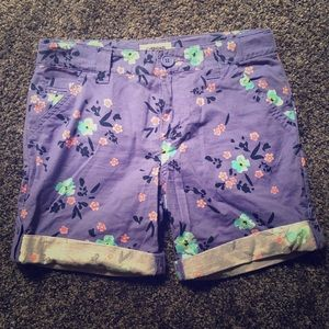 Purple Floral Cuffed Shorts